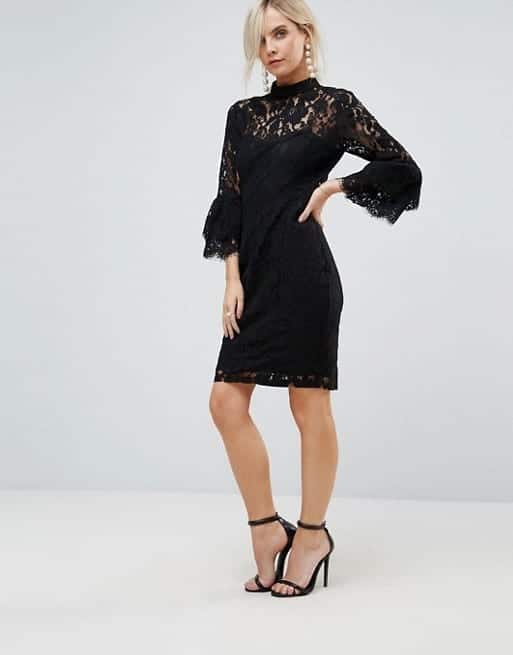 PAPER DOLLS PETITE High Neck Midi Lace with Double Frill Sleeve Black Dress
