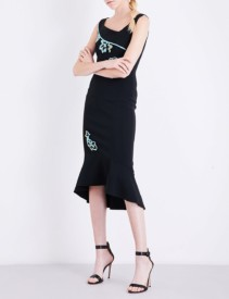 PETER PILOTTO Floral-embroidered Cady Black Dress