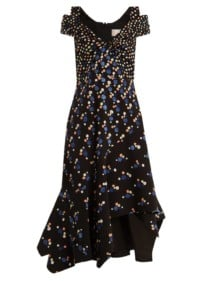 PETER PILOTTO Off The Shoulder Dot Print Stretch Cady Navy Blue Dress