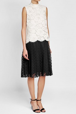 PHILOSOPHY DI LORENZO SERAFINI Lace Midi Black / White Dress