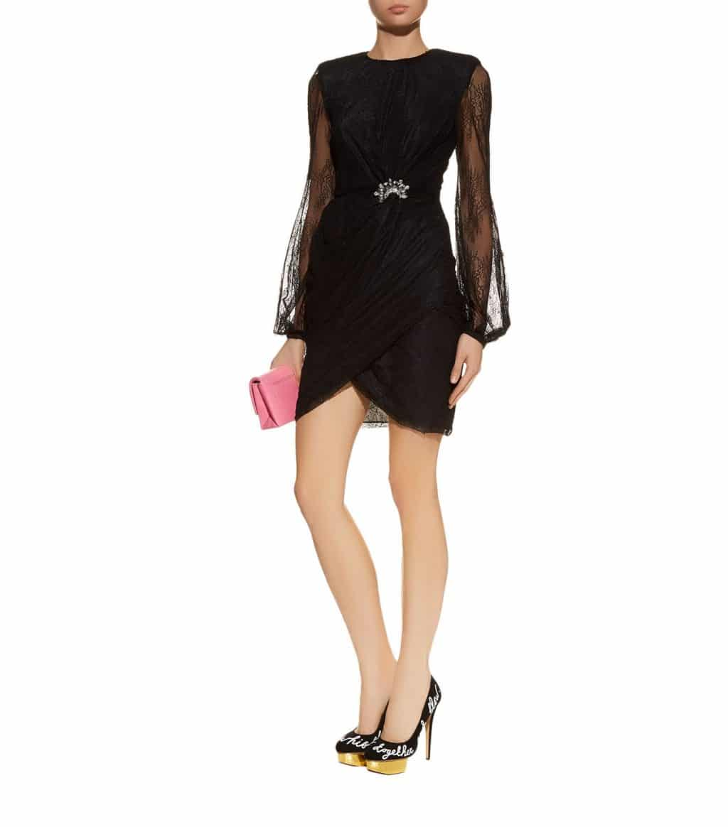 PINKO Double Lace Black Dress
