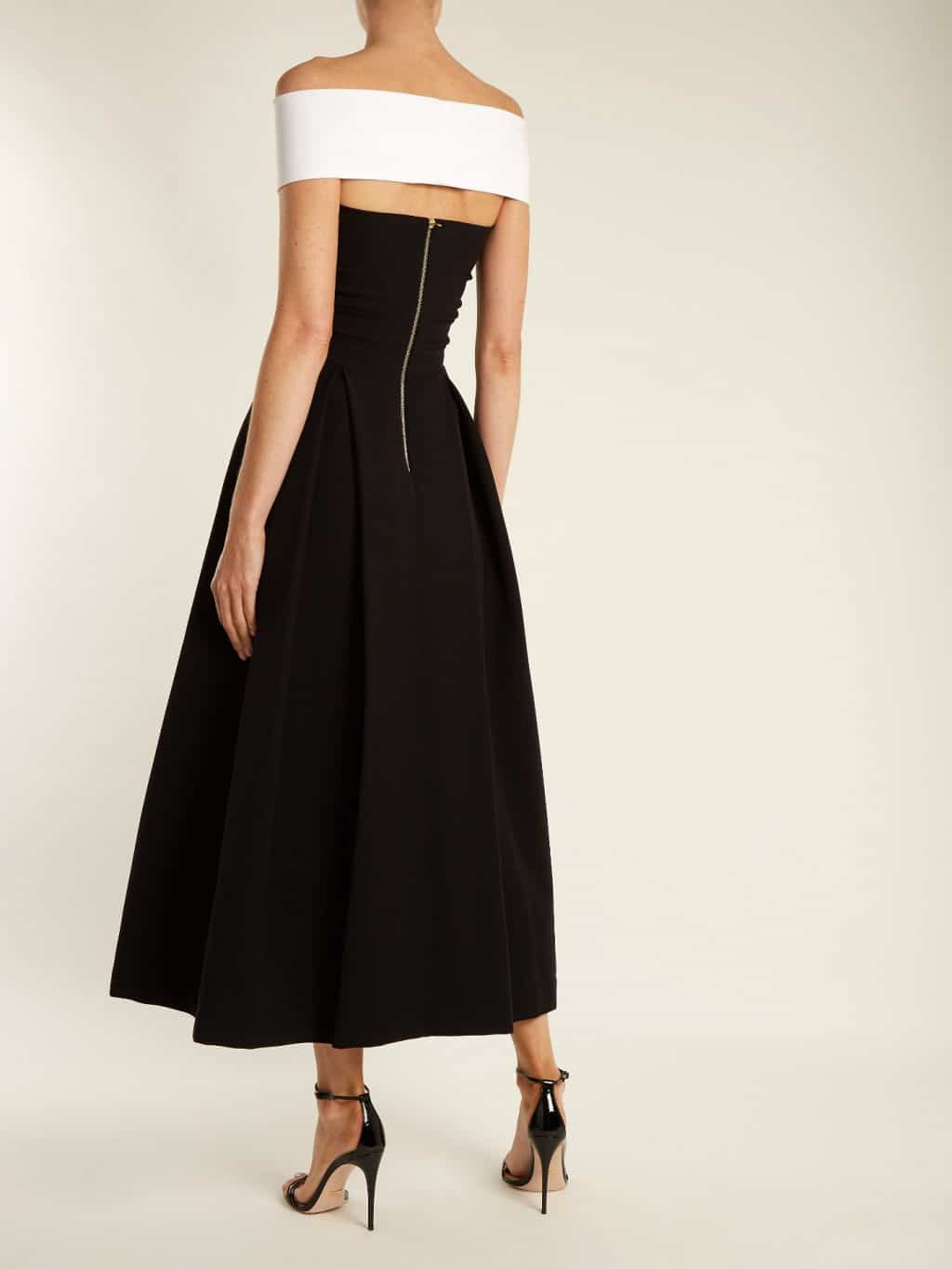 PREEN BY THORNTON BREGAZZI Virginia Off The Shoulder Cady Black Dress