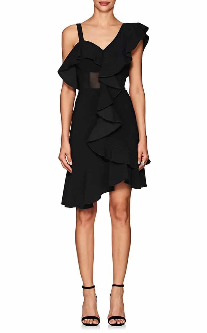 PROENZA SCHOULER Ruffled Cady One-Shoulder Black Dress