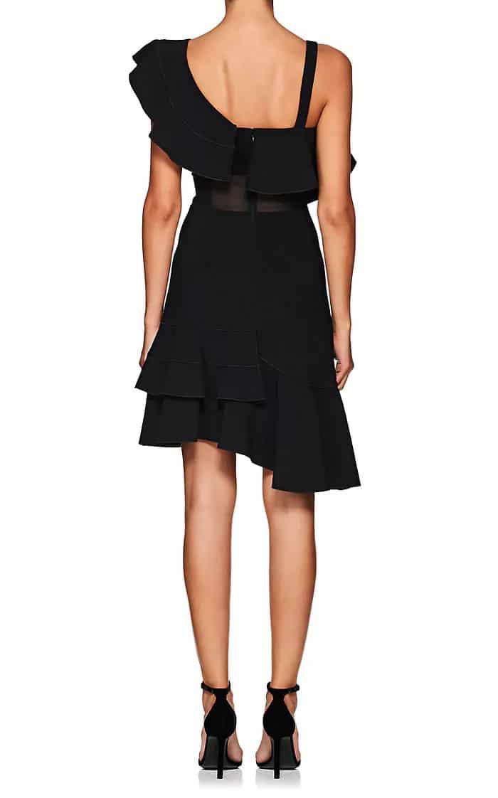 Proenza Schouler Ruffled Cady One Shoulder Black Dress We Select