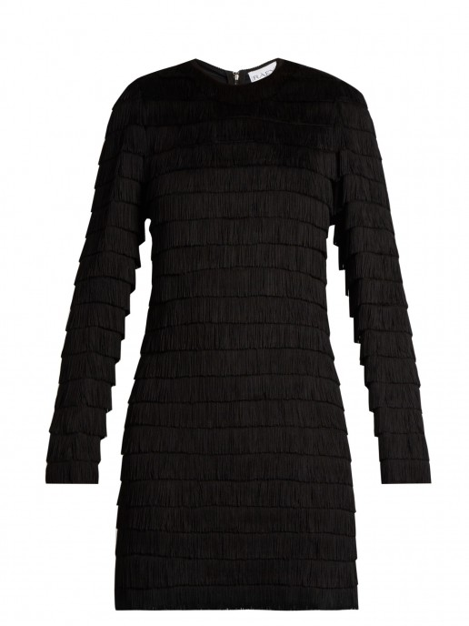 RAEY Long-sleeved Fringed Black Dress