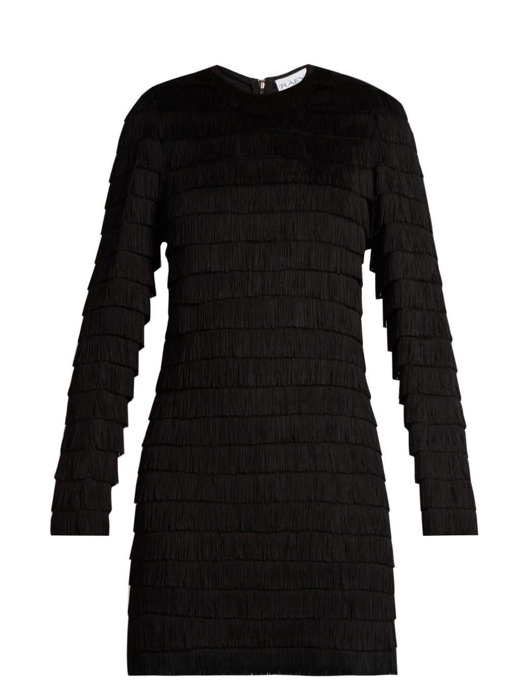 RAEY Long-sleeved Fringed Black Dress