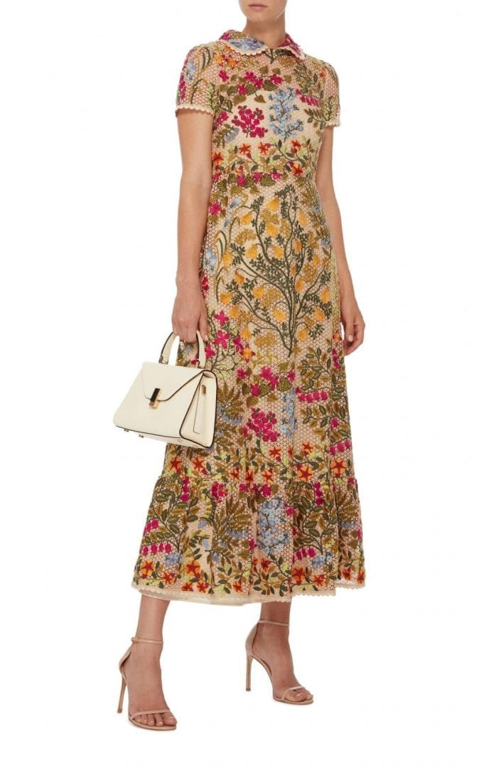 299a9f7c574 RED VALENTINO Floral Embroidered Macramé Beige Dress - We Select Dresses