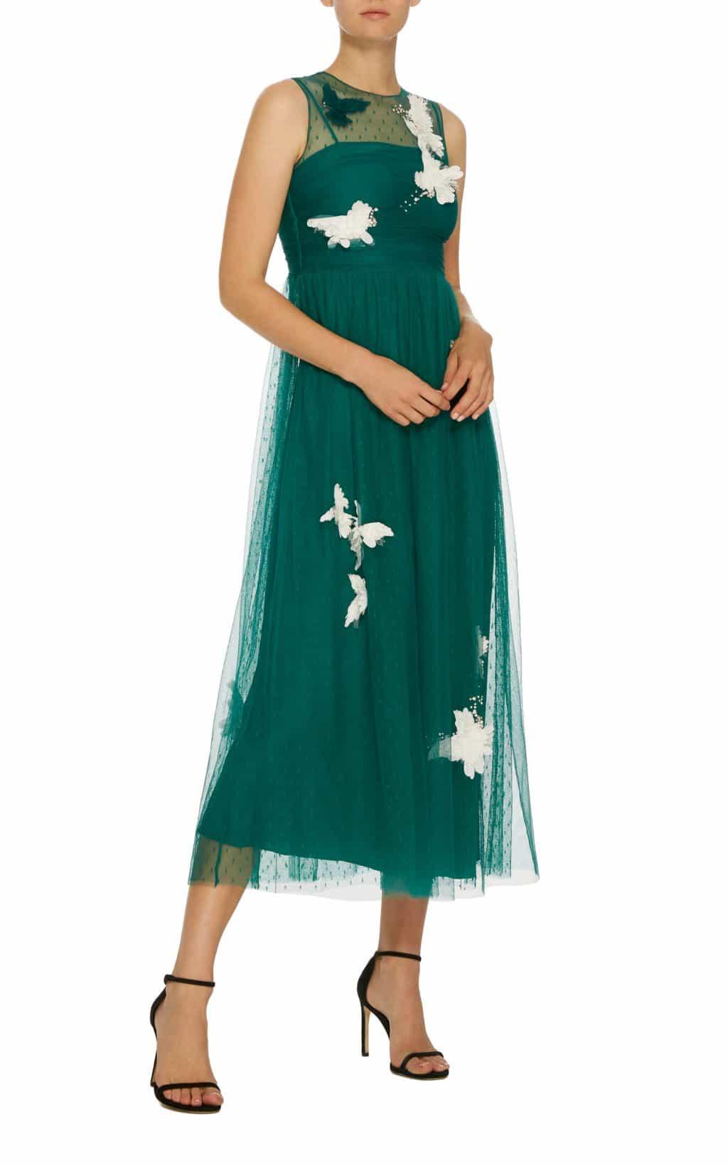 RED VALENTINO Point D'Esprit Sleeveless Midi Green Dress