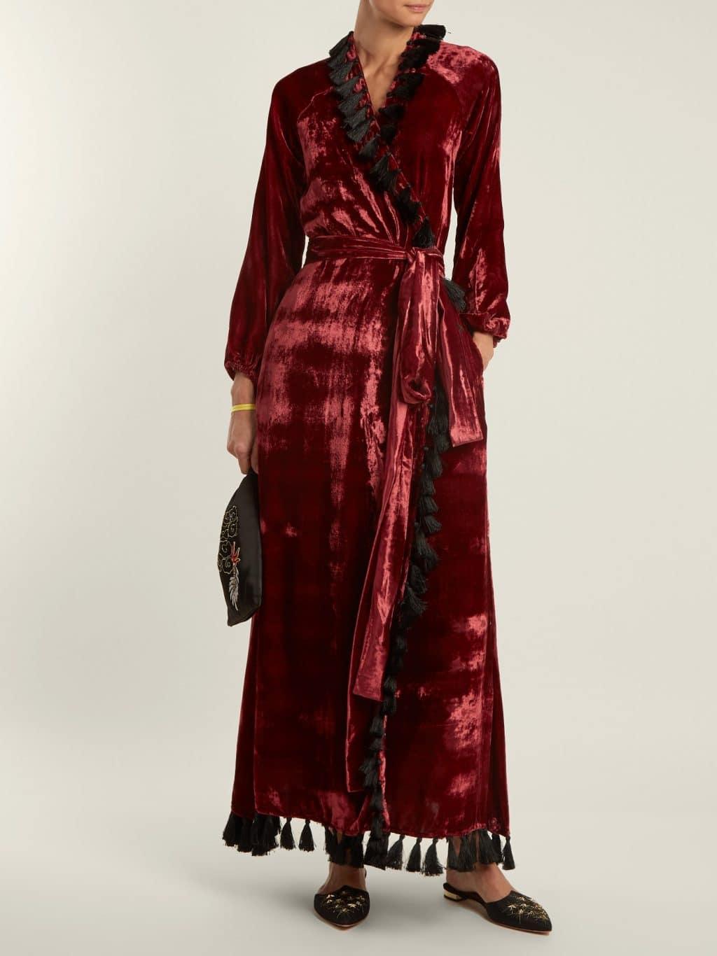 7f21fd1989be RHODE RESORT Jagger Tassel-trimmed Velvet Wrap Burgundy Dress - We ...