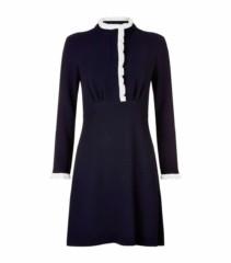SANDRO Contrast Ruffle Trim Blue Dress