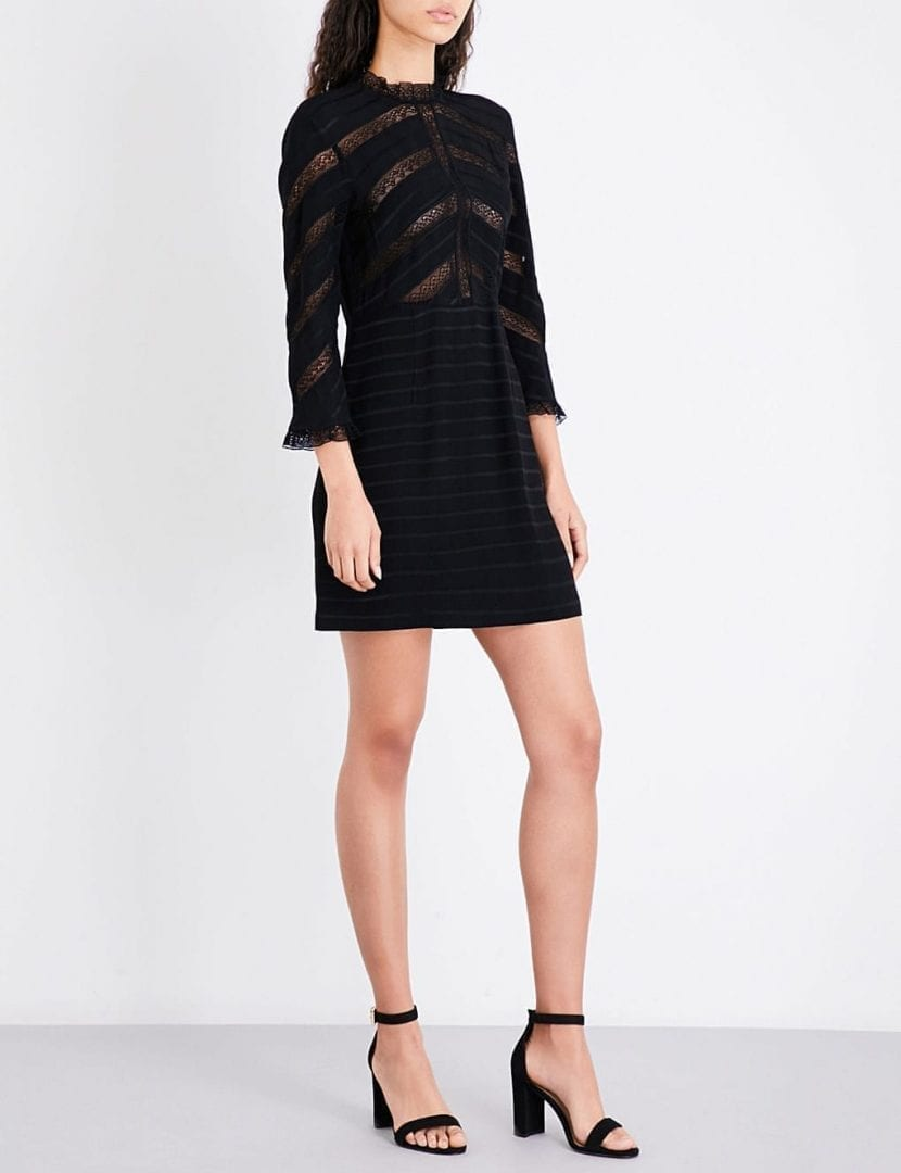 SANDRO Floral Lace-panel Crepe And Lace Black Dress