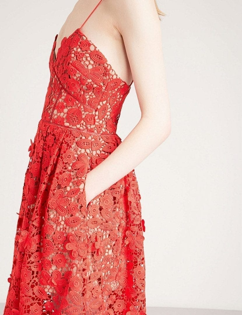 a0eab77a1aa SELF-PORTRAIT 3d Floral Azaelea Guipure Lace Midi Tomato Red Dress ...
