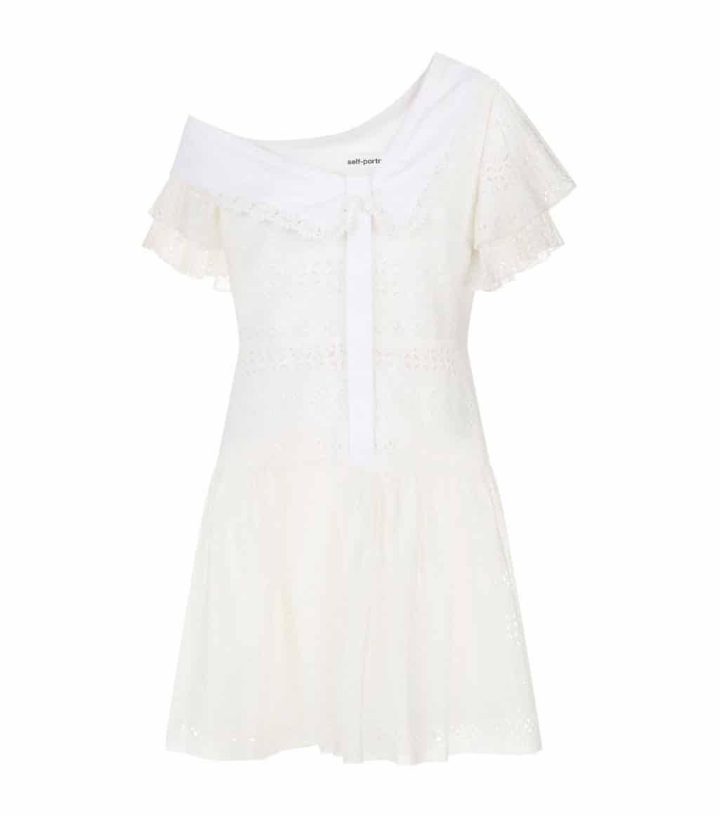 SELF-PORTRAIT Broderie Anglaise Mini White Dress