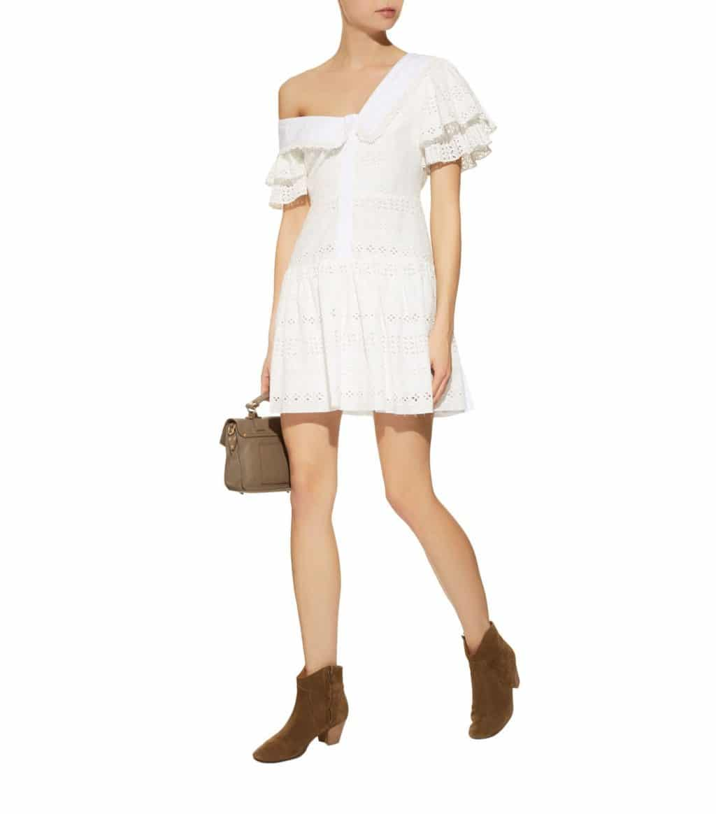 b889e53b9b9eba SELF-PORTRAIT Broderie Anglaise Mini White Dress - We Select Dresses