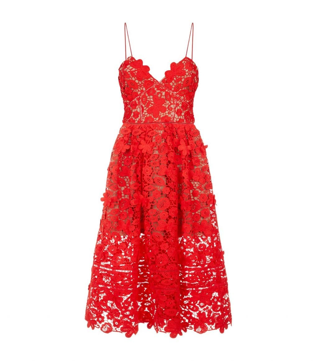 SELF-PORTRAIT Floral Lace Azaelea Cami Red Dress