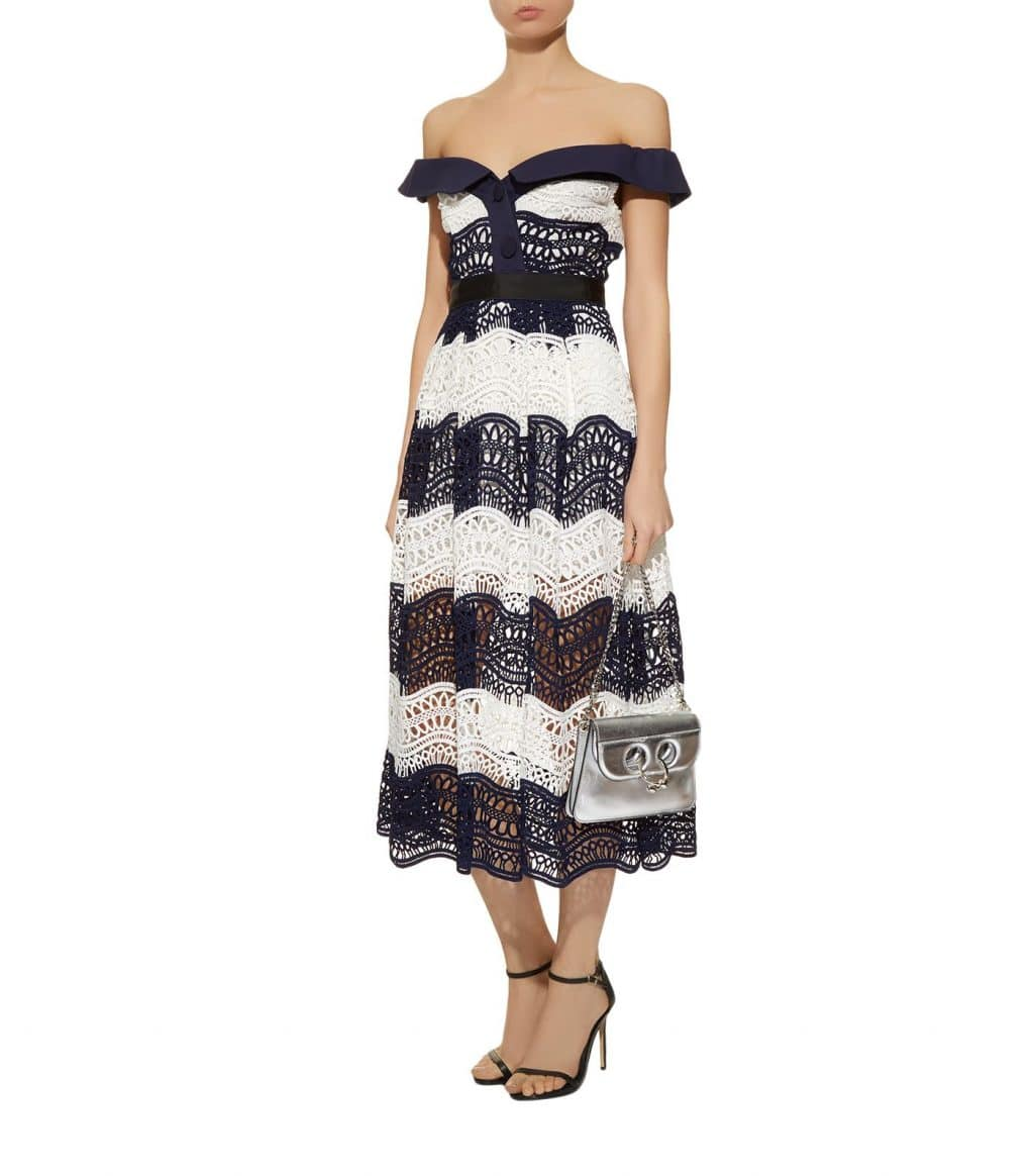 Self Portrait Guipure Lace Off The Shoulder Blue White Dress