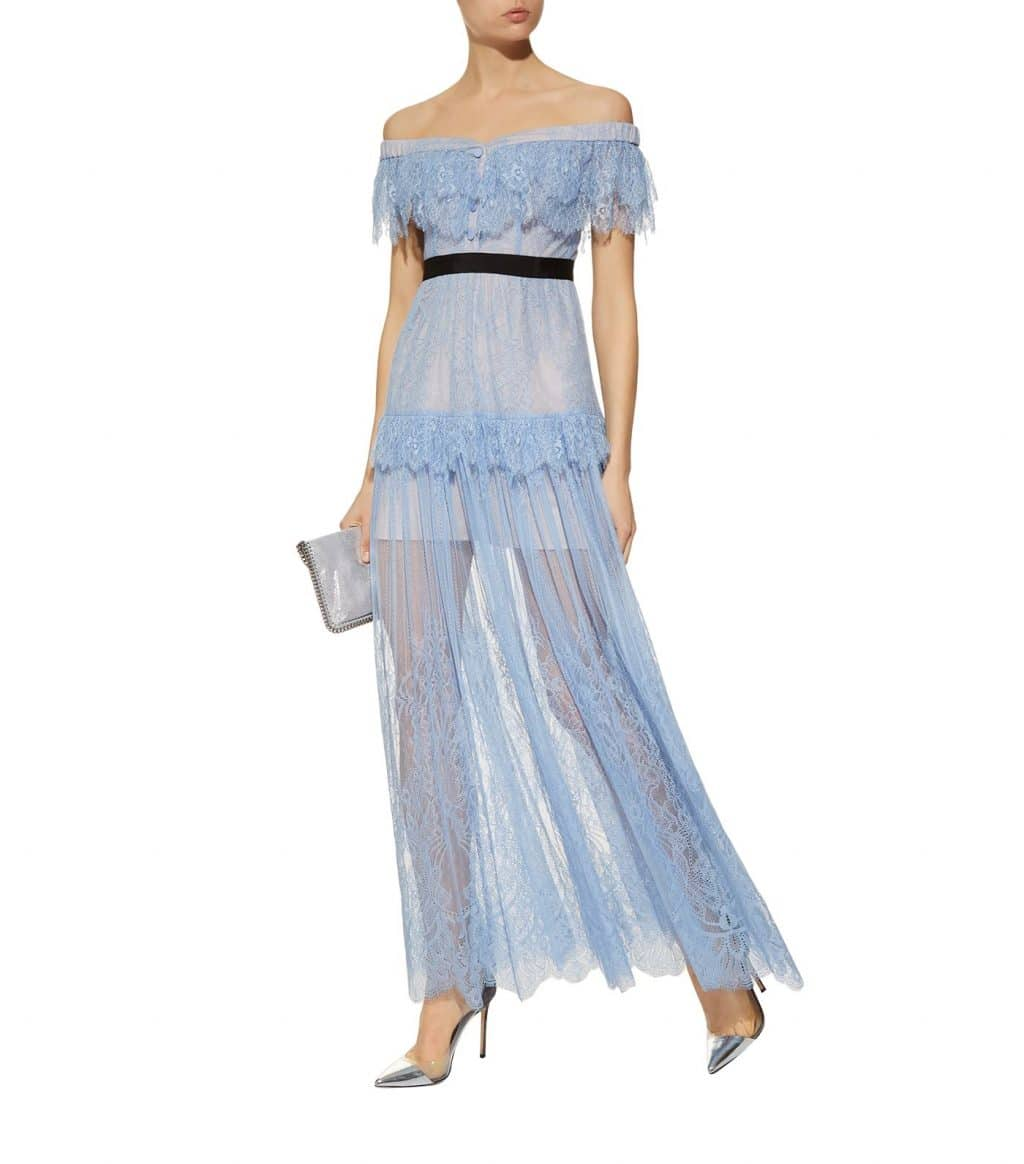SELF-PORTRAIT Lace Off-The-Shoulder Blue Dress