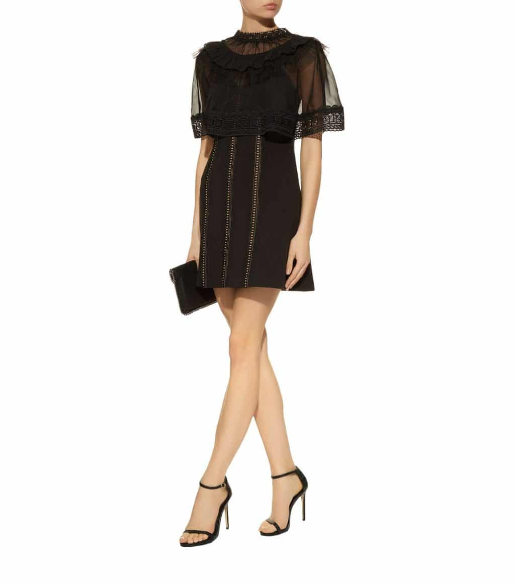 abe931a76617e SELF-PORTRAIT Lace Trimmed Overlay Mini Black Dress - We Select Dresses