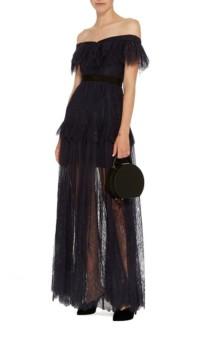 SELF PORTRAIT Off-The-Shoulder Lace Maxi Navy Dress