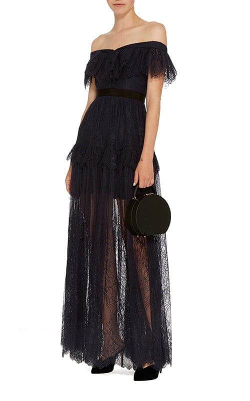 SELF PORTRAIT Off-The-Shoulder Lace Maxi Navy Dress