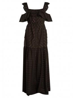 SELF- PORTRAIT Off The Shoulder Stripe Embroidered Maxi Black Dress