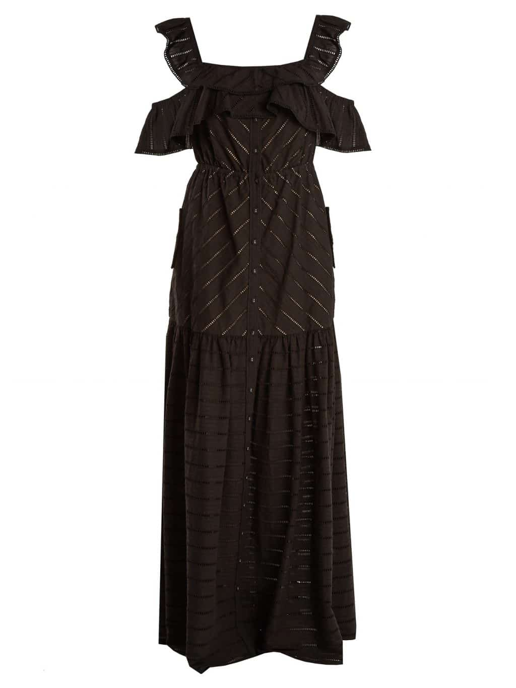 SELF- PORTRAIT Off The Shoulder Stripe Embroidered Maxi Black Dress