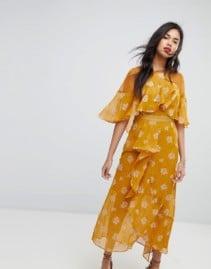 STEVIE MAY Golden Frill Midi Desert Gold / Milk Dress