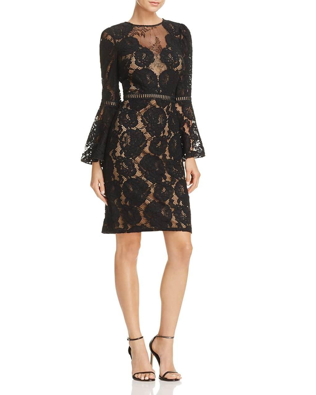 TADASHI SHOJI Lace Bell Sleeve Black / Nude Dress