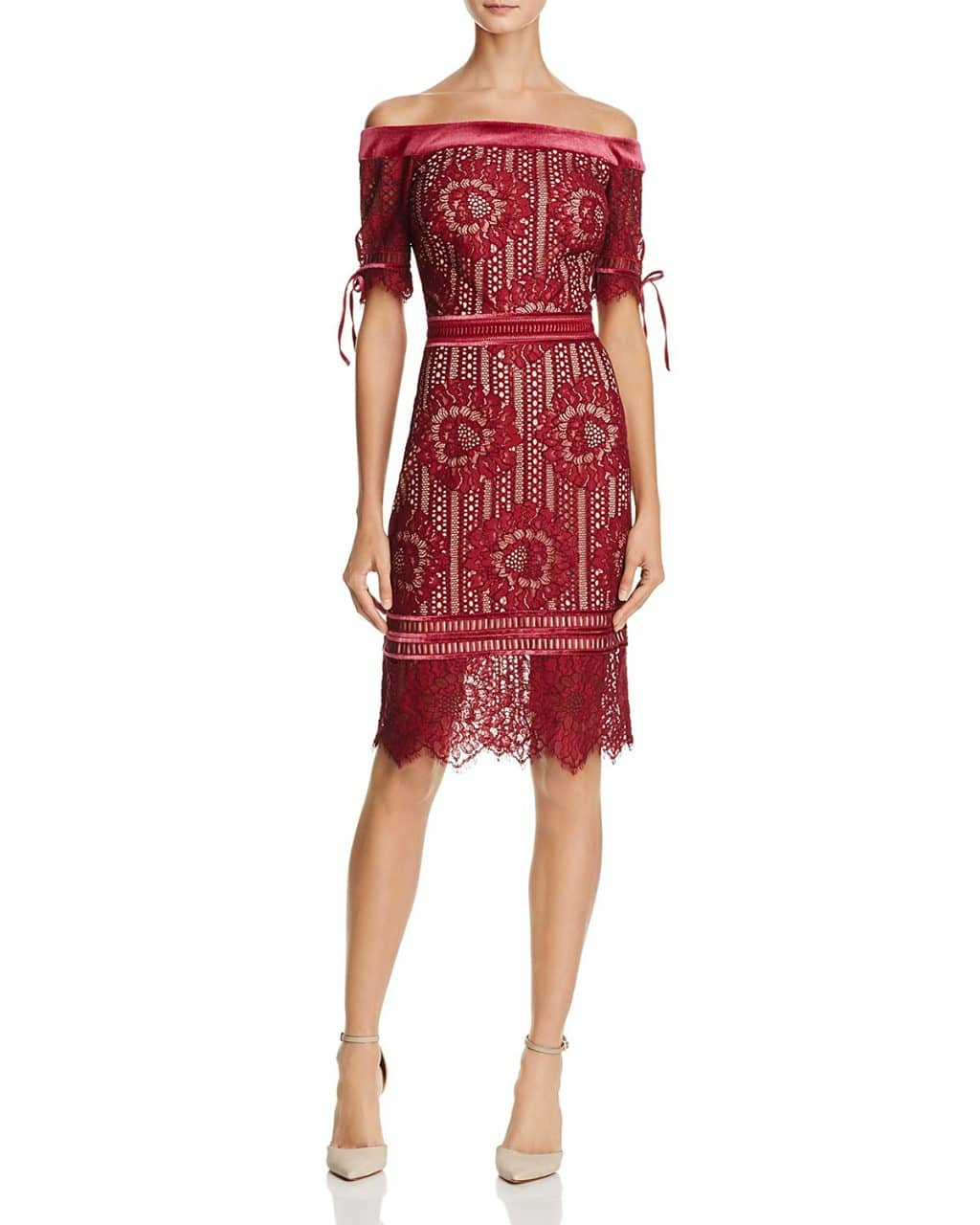 TADASHI SHOJI Off-the-Shoulder Lace Wine / Nude Dress
