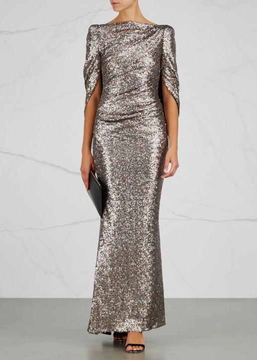 TALBOT RUNHOF Konica 12 Bronze Sequinned Gown