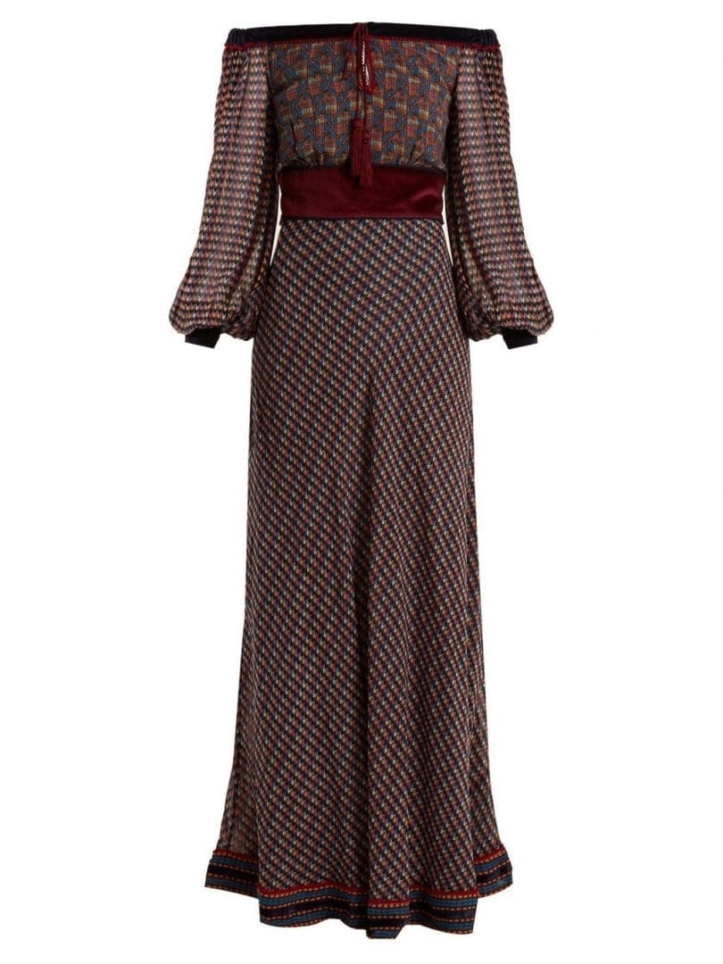 TALITHA Ashanti Geometric Print Silk Georgette Burgundy Dress