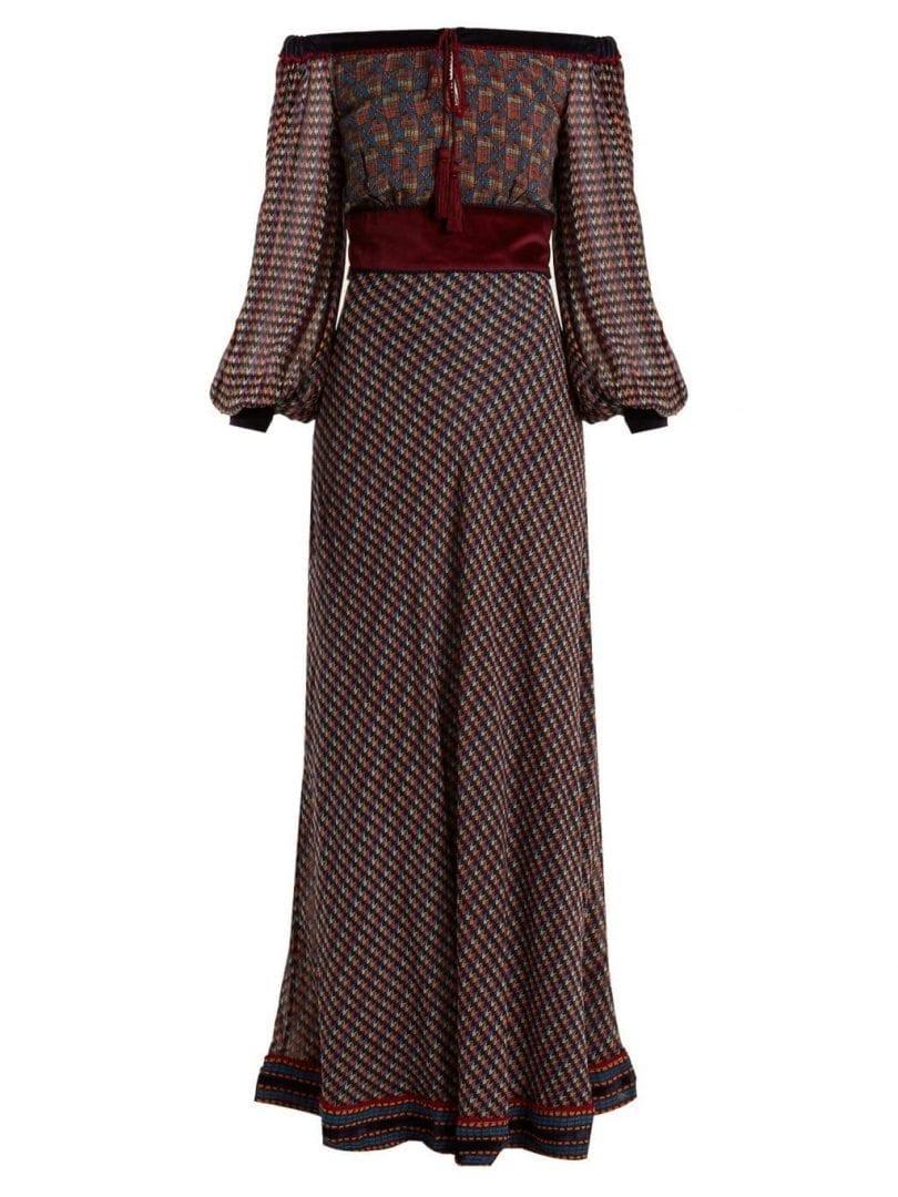 TALITHA Ashanti Geometric Print Silk Georgette Burgundy Dress