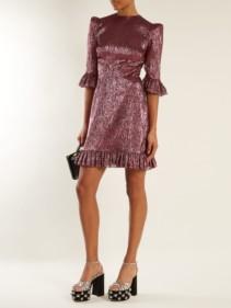 THE VAMPIRE'S WIFE Festival Ruffle Trimmed Silk Blend Lamé Metallic Violet Pink Dress