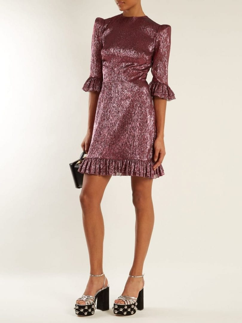THE VAMPIRE'S WIFE Festival Ruffle Trimmed Silk Blend Lamé Metallic Violet Pink Dress