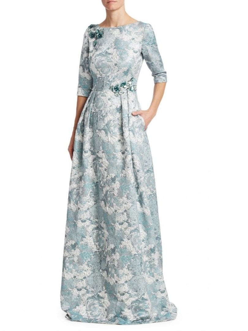 THEIA Jacquard Floor-Length Aqua Mist Dress