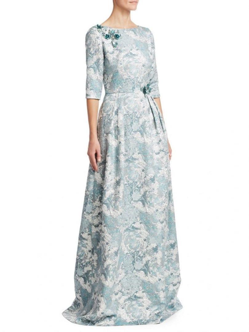 THEIA Jacquard Floor-Length Aqua Mist Dress - We Select Dresses