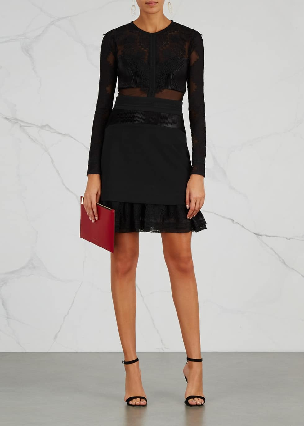 THREE FLOOR Bonjour Panelled Mini Black Dress