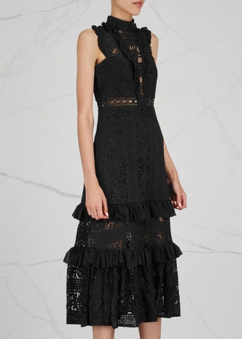 THREE FLOOR Boulevard Ruffle Trimmed Lace Black Dress