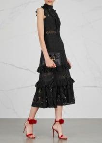 THREE FLOOR Boulevard Ruffle Trimmed Lace Black Dress