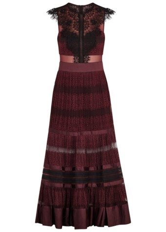 THREE FLOOR Essence Lace Maxi Burgundy Dress