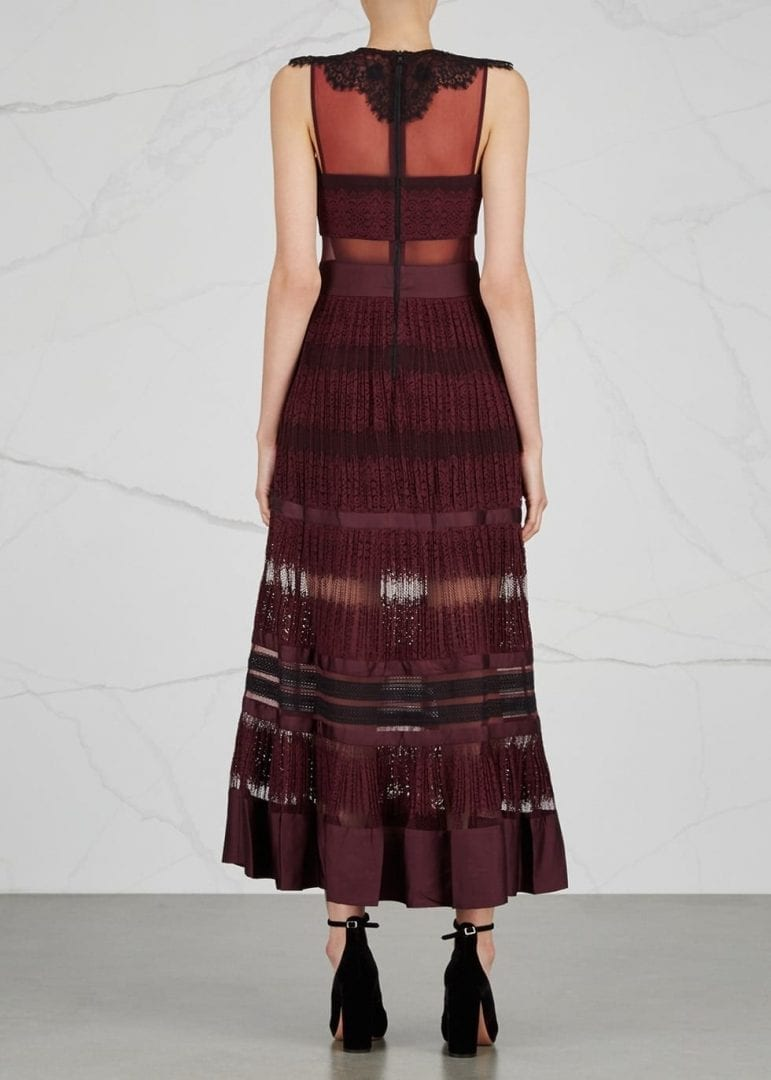 Three Floor Essence Lace Maxi Burgundy Dress We Select