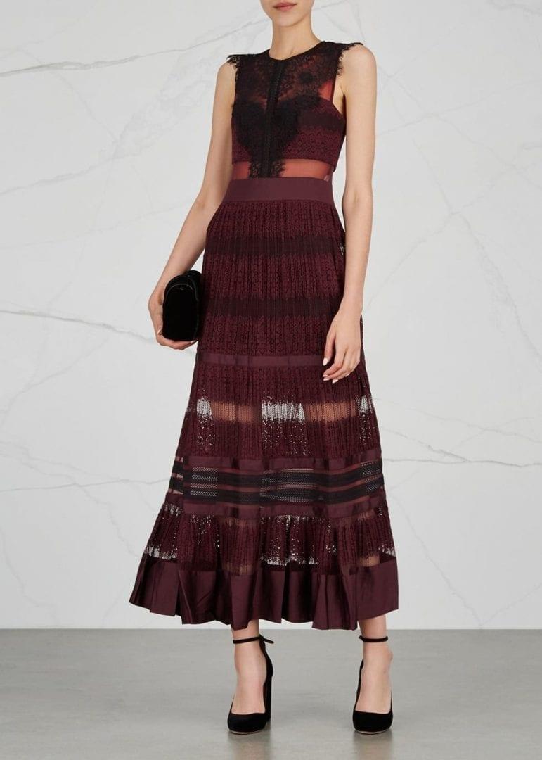 three floor essence lace maxi burgundy dress we select