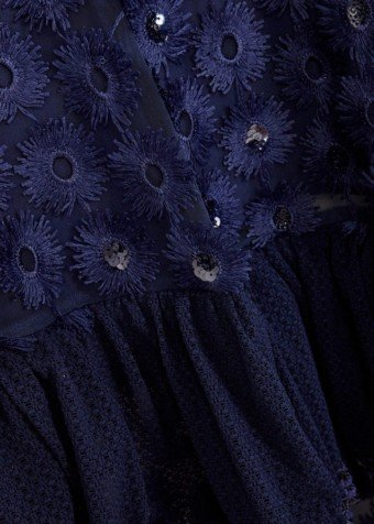 THREE FLOOR High Floral Embellished Lace Navy Dress