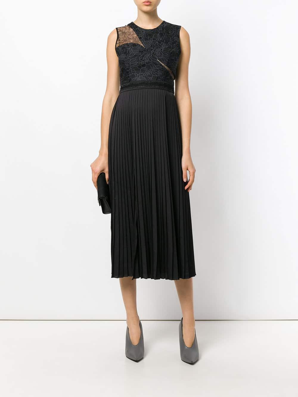 THREE FLOOR Noir Night Pleated Black Dress