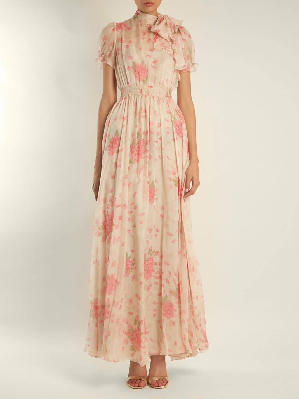 VALENTINO Neck Tie Rose Print Silk Chiffon Cream Gown - We Select ...
