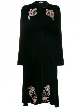 VIVETTA Embroidered Floral Black Dress