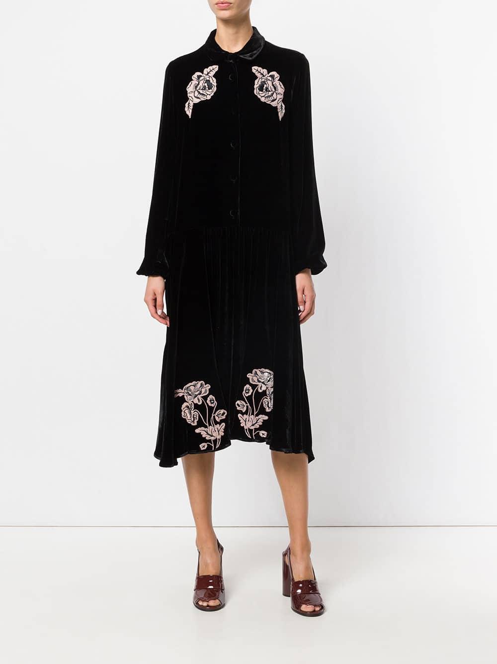 VIVETTA Embroidered Floral Black Dress