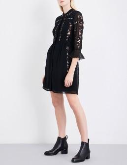 WHISTLES Amira Embroidered Fil-coupé Shirt Black Dress