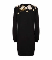 WHISTLES Embroidered Sweater Black Dress