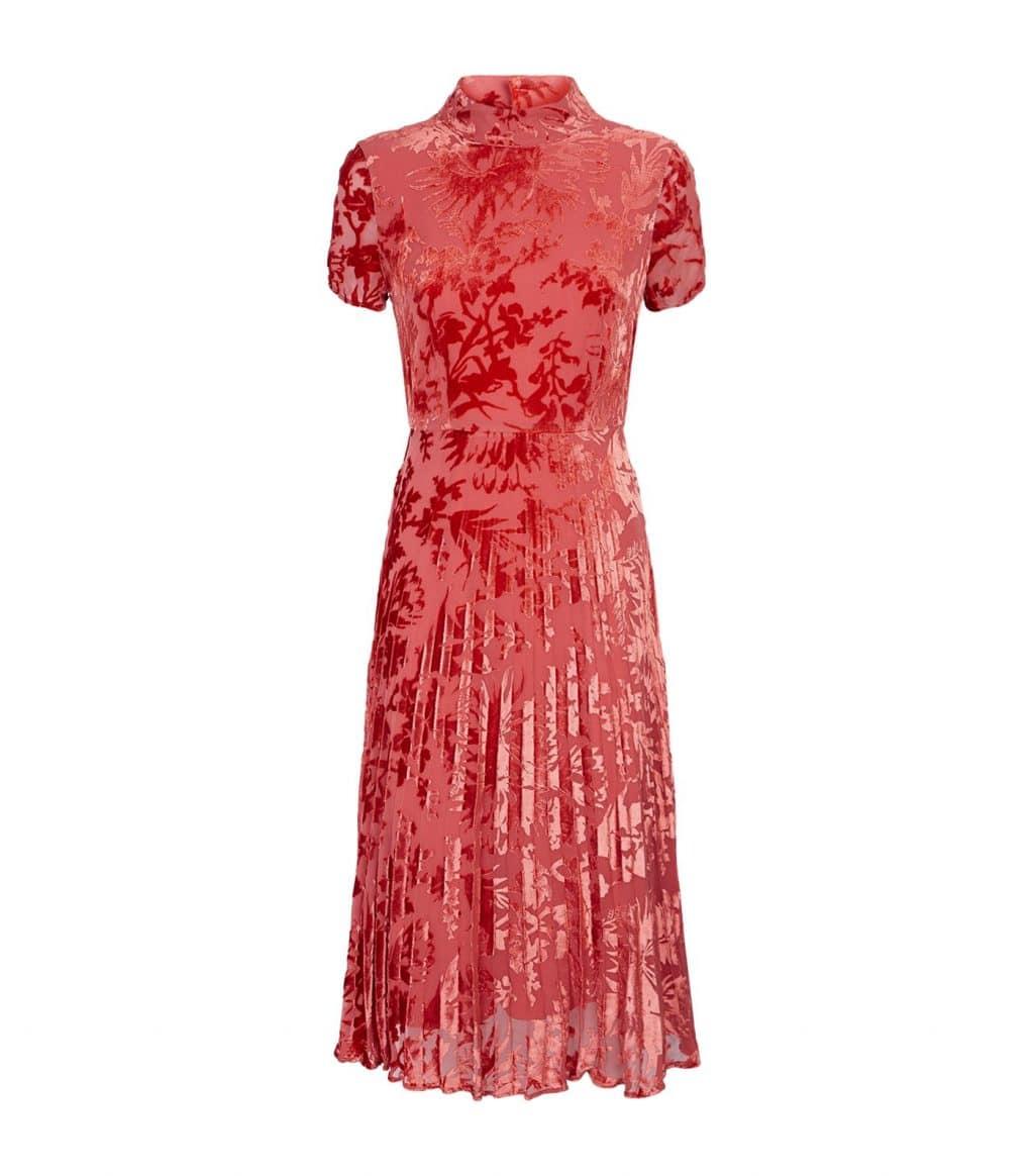 WHISTLES Harlow Devoré Pleated Orange Dress